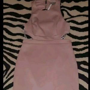 Blush pink midi bodycon dress scuba open back 12